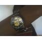 SHENHUA Homme Montre Bracelet Montre mécanique Remontage automatique Gravure ajourée Acier Inoxydable Bande Luxe Noir Argent