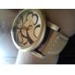 남여 PU 아날로그 석영 손목 시계 (갈색)