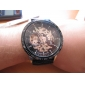 Men's Auto-Mechanical Hollow Black Dial PU Band Wrist Watch Cool Watch Unique Watch Fashion Watch