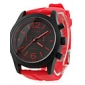 homens e mulheres de silicone analógico relógio de pulso de quartzo (vermelho)