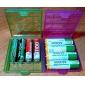 AAA / AA пластиковом корпусе держателя ящик для хранения (белая + пурпурный + синий + зеленый)