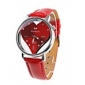 Women's Sweet Heart Dial Red PU Band Quartz Wrist Watch Cool Watches Unique Watches
