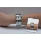 Femme Montre Tendance Montre Bracelet Bracelet de Montre Montre Diamant Simulation Quartz Imitation de diamant Bande Rigide Argent