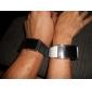 Пара часов с ремешками из искусственной кожи и красной светодиодной подсветкой (цвета черный и белый)