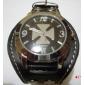 남여 PU 아날로그 석영 손목 시계 (블랙)