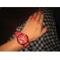 Кварцевые аналоговые наручные часы, силиконовый ремешок (красный)