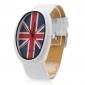 플래그 로고 (흰색)과 남여 PU 아날로그 석영 손목 시계