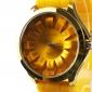 Модные кварцевые наручные часы с силиконовой лентой Желтый