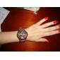 Women's Chrysanthemum Style Dial Silicone Band Quartz Analog Wrist Watch (Brown)