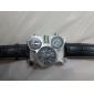 Oulm Homens Relógio Militar Relógio de Pulso Quartzo Quartzo Japonês Três Fusos Horários Couro Banda Preta