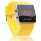 унисекс привел цифровые квадратным корпусом желтого силиконовой лентой наручные часы