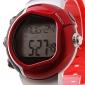 Herr Sportsklocka Digital LCD Pulsmätare Kalender Kronograf alarm Band Röd Röd