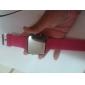 실리콘 밴드 여성 남성 남여 젤리 스포츠 스타일의 사각 거울 주도 손목 시계 - 복숭아 빨강