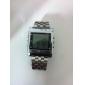 남성용 손목 시계 디지털 LED 리모컨 달력 경보 스톱워치 스테인레스 스틸 밴드 실버