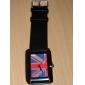 унисекс площади набора черный PU Группа Кварцевые наручные часы (разные цвета)