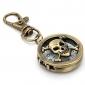 unisex oco crânio cabeças liga de quartzo analógico keychain relógio (bronze)