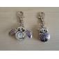 Silver Flip Open Owl Keychain Watch