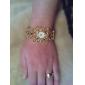 diamante das mulheres liga estilo analógico relógio pulseira de quartzo (ouro)