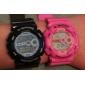 밤 빛으로 방수 디지털 자동 시계의 쌍 - 핑크와 블루