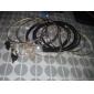 Bracelets Noirs en Cuir, Alliage et Perle (7 Pièces)