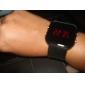 Masculino Relógio de Pulso Digital LED Calendário Silicone Banda Preta