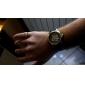 hommes PU analogiques montre-bracelet mécanique (noir)