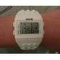 unisexe lcd bloc briques montre (blanc) numérique en caoutchouc de style de bracelet