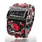 Amazing Women's Black Bracelet Watch with Graceful Red Diamond Decoration