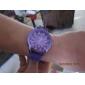 Кварцевые аналоговые наручные часы, силиконовый ремешок (фиолетовый)