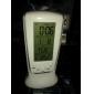 파란 역광선 디지털 방식으로 LCD 음악 알람 시계 달력 온도계 (흰색, 3XAAA)