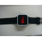 Unisex Red LED Square Mirror White Case Black Silicone Band Wrist Watch Cool Watch Unique Watch