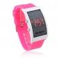 유니섹스 빨간색 디지털 직사각형 케이스 핑크 실리콘 밴드 손목 시계를지도했다