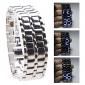 Men's Watch Faceless Watch Lava Style Blue LED Digital Silver Steel Wrist Watch Cool Watch Unique Watch