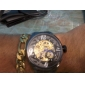 Hommes Montre Bracelet Montre mécanique Remontage automatique Gravure ajourée Acier Inoxydable Bande Noir Marque SHENHUA