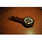 남성 손목 시계 기계식 시계 중공 판화 오토메틱 셀프-윈딩 PU 밴드 럭셔리 브라운