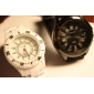 Women's Chrysanthemum Style Dial Silicone Band Quartz Analog Wrist Watch (Black)  Cool Watches Unique Watches