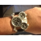 OULM® Men's Watch Military Three Time Zones Leather Band Cool Watch Unique Watch