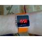 mené unisexe rouge cas d'orange montre-bracelet de bande numérique carré de silicone