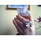 Forma flor esmalte colorido Anel liga ajustável