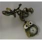 Coruja de liga unisex de quartzo analógico keychain relógio (bronze)