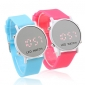 Pair of Sports Style Red LED Jelly Wrist Watches - Light Blue & Peach Red