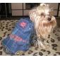 강아지 점프 수트 강아지 의류 카우보이 패션 청바지 블루 코스츔 애완 동물
