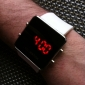 Unisex Red LED Digital Square Case White Silicone Band Wrist Watch Cool Watch Unique Watch