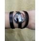 Women's Fashionable Long PU Leather Style Analog Quartz Bracelet Watch (Black)