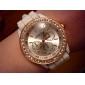 Mulheres Relógio de Moda Relógio de Pulso Relógio Elegante Quartzo Rosa Folheado a Ouro Silicone Banda Azul Vermelho