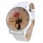 Reloj Pulsera de Mujer con Gato de Correa Blanca A139