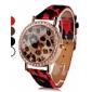 여자의 표범 인쇄 PU 아날로그 쿼츠 손목 시계 (분류 된 색깔)
