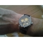 남성용 손목 시계 기계식 시계 오토메틱 셀프-윈딩 중공 판화 야광 PU 밴드 멋진 럭셔리 브라운