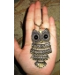 Owl Shape Copper Necklace with Rhinestone Eyes