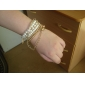 Lureme®Pearl And Alloy Beads Bracelets Set